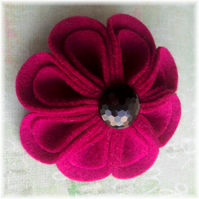 Hot Pink 'Blooming Petals' Felt Brooch