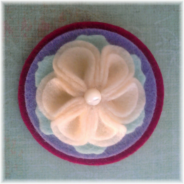Pink, Lavender and Cream 'Serenity' Felt Brooch