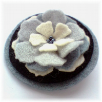 'Lovely Layers' Grey and Black Felt Brooch