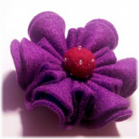 CUSTOM ORDER FOR NATASHA Purple 'Ruffle' Felt Flower Brooch