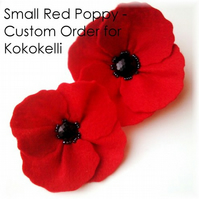 Custom Order Small Red Poppy Brooch