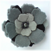 Soft Grey 'Pansy' Brooch