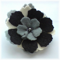 Black, Grey and Cream 'Pansy' Brooch