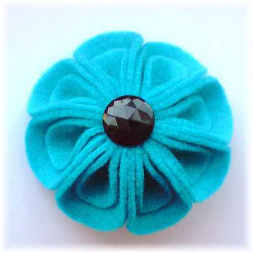 Turquoise Felt Flower Brooch - 'Blooming Petals'