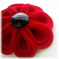 Red Felt Flower Brooch - 'Blooming Petals'