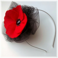 Red Poppy Fascinator