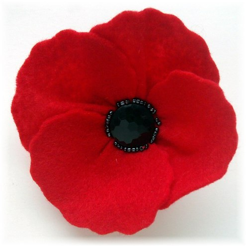 Red Felt Poppy Brooch