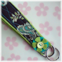 Blue and Lime Green Keyring / Wrist fob