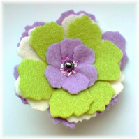 Lilac and Lime Green 'Pansy' Brooch