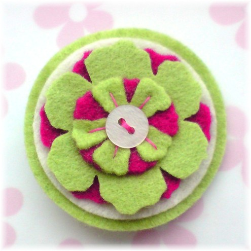 Lime Green and Pink Mini Circle Brooch