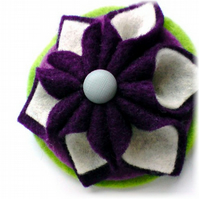Purple Folded Felt Brooch