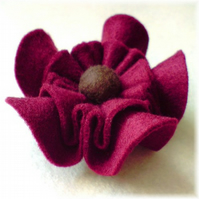 CUSTOM ORDER 'Ruffle' Felt Flower Brooch Cranberry