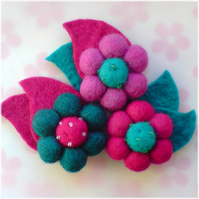 Felt Ball Brooch - with Hairband!