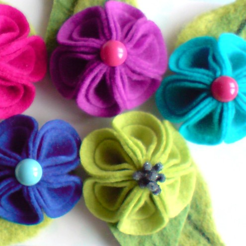 Felt Flower Brooch - Folded Petal Design!
