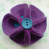 Purple Felt Flower Brooch - New Design!