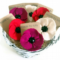 Pink Felt Poppy Brooch