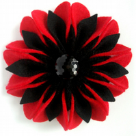 Red and Black Felt Flower Corsage