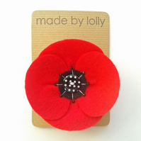 Poppy Corsage in Red Felt - Retro Style