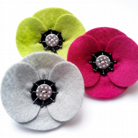 Felt Poppy Corsage - Lime Green Retro Poppy Brooch