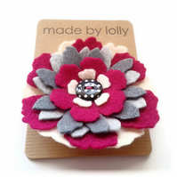 Custom Listing for Emma : Pink and Grey Felt Rosette Brooch
