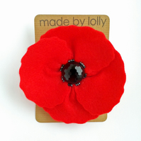 Large Red Felt Poppy Brooch