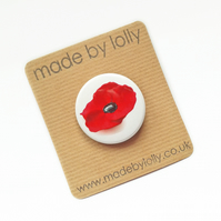 Poppy Badge - 38mm Red Poppy Pin Badge