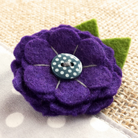 Felt Flower Brooch - 'MINNIE' in Purple