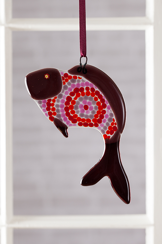 Plum Circles Funky Fish Fused Glass Suncatcher
