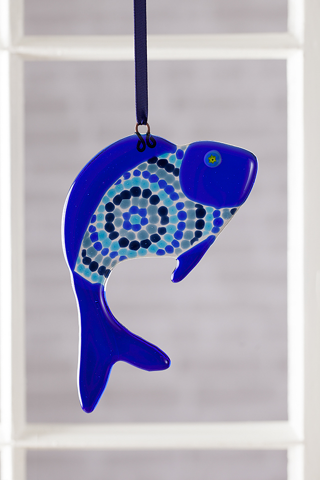 Blue Circles Funky Fish Fused Glass Suncatcher