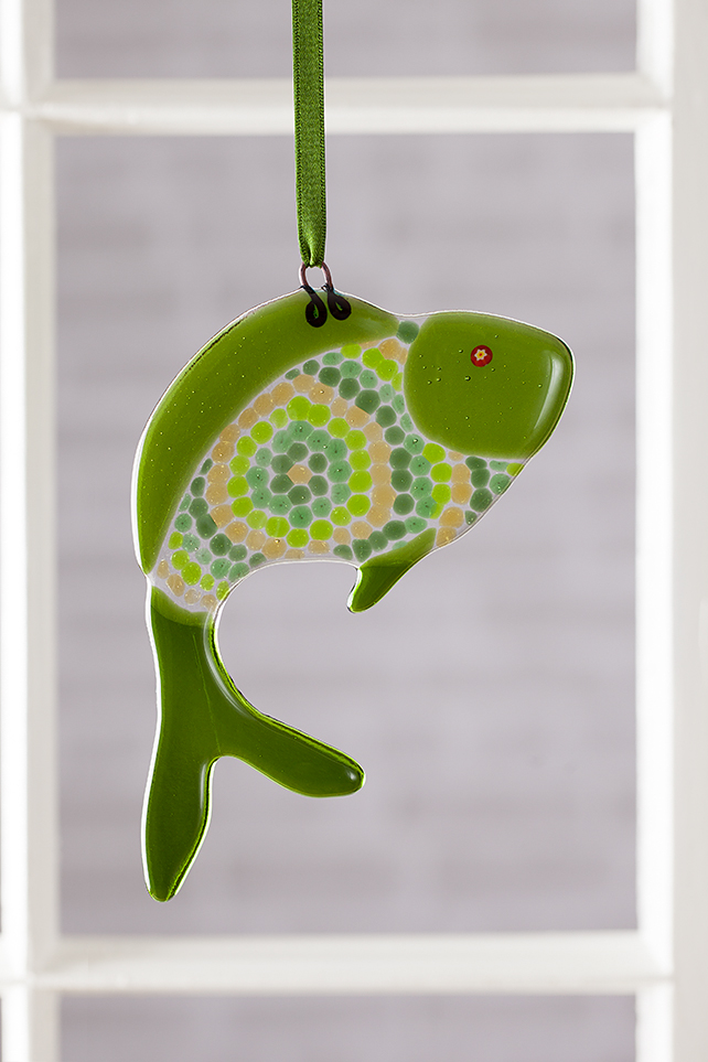 Green Circles Funky Fish Fused Glass Suncatcher