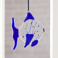 Quirky Blue Fused Glass Fish Hanging Decoration