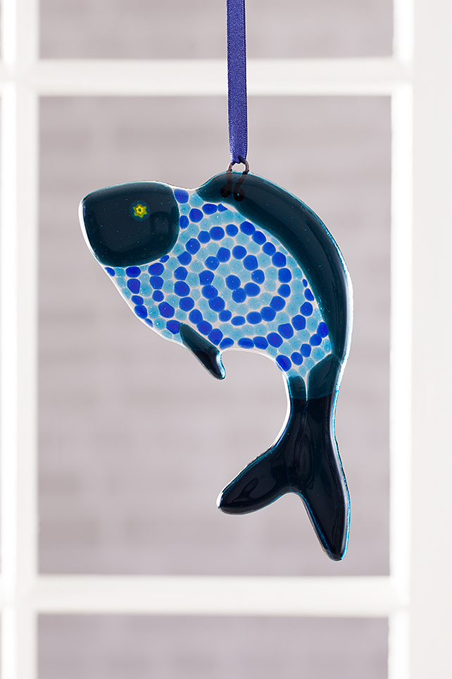 Ocean Blues Funky Fish Fused Glass Suncatcher