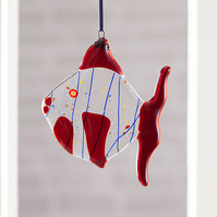 Quirky Red Fused Glass Fish Hanging Decoration