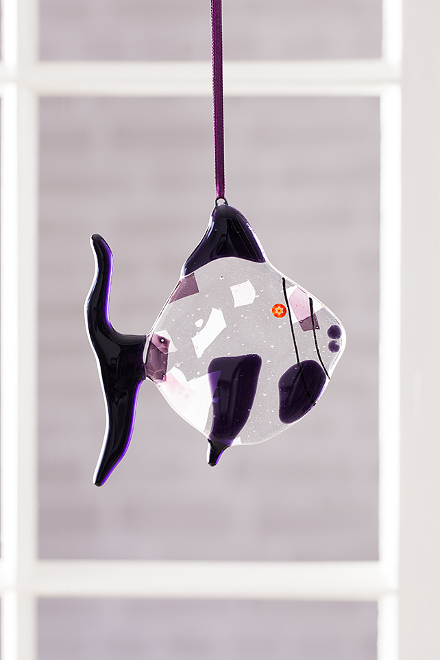 Quirky Purple Fused Glass Fish Hanging Decoration