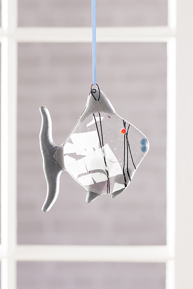 Quirky Ghost Grey Fused Glass Fish Hanging Decoration