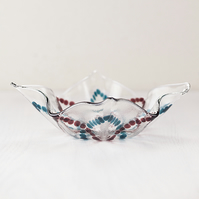 Wavy Waterlily Fused Glass Bowl