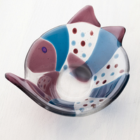 Curved Fish Fused Glass Bowl