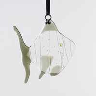 Grey Quirky Fish Fused Glass Hanging Decoration