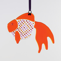 Fused Glass Fancy Tail Goldfish Suncatcher
