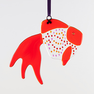 Fused Glass Fancy Tail Goldfish Hanging Decoration