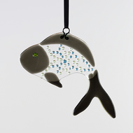 Dark Grey Funky Fish Fused Glass  Suncatcher