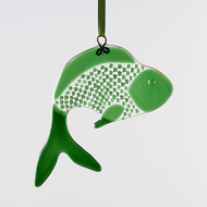 Dark Green Funky Fish Fused Glass  Suncatcher