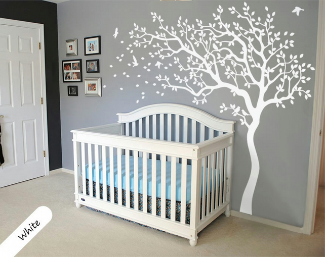 White Tree Wall Decal Huge Tree wall decal Wall Mural Stickers Nursery Tree