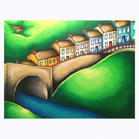 "Llandeilo Bridge, Wales, Mounted Print 8"" x 10"" Unframed"