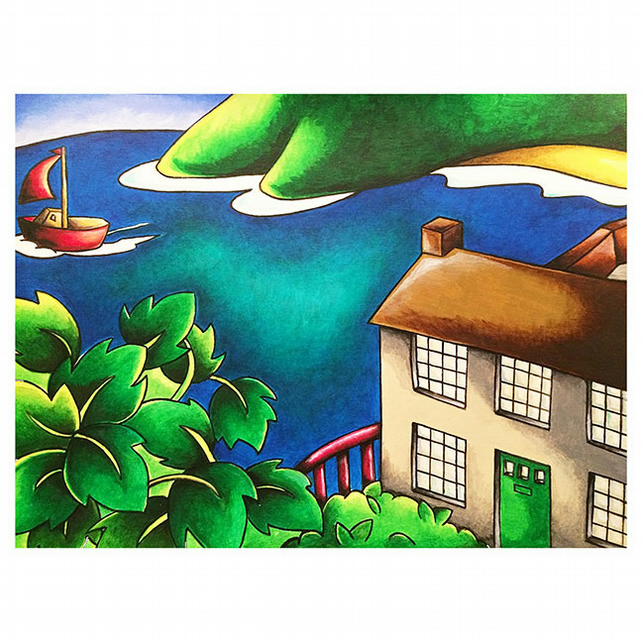 "Dylan's Boathouse Mounted Print 14"" x 11"" Unframed"