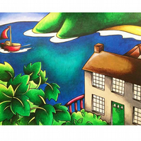 "Dylan's Boathouse Mounted Print 16"" x 20"" Unframed"