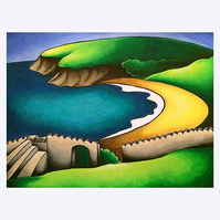 "Barafundle Bay, Wales, Mounted Art  Print 8"" x 10"" Unframed"