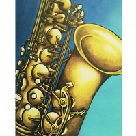 """The Sax"" Mounted Art  Print "" 11x 14"" Unframed"