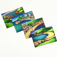 Welsh Landmarks Greeting Cards Pack of 4