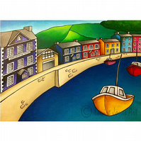 "Large art print, Aberaeron Harbour welsh landscape, sea view, gift, 16"" x 20"""